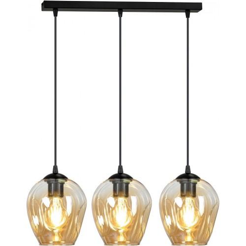 Nowoczesna Lampa wisząca szklana potrójna Istar III czarno-miodowa Emibig nad stół