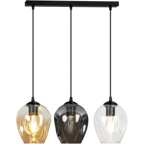 Nowoczesna Lampa wisząca szklana potrójna Istar III czarny/multikolor Emibig nad stół
