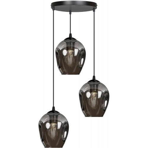 Nowoczesna Lampa wisząca szklana Istar III premium czarno-grafitowa Emibig nad stół