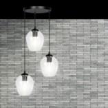 Nowoczesna Lampa wisząca szklana Istar III premium czarno-przezroczysta Emibig nad stół