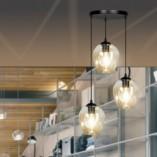 Nowoczesna Lampa wisząca szklana Istar III premium czarno-miodowa Emibig nad stół