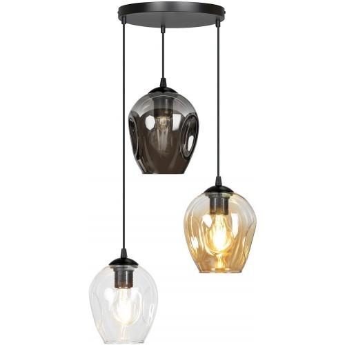 Nowoczesna Lampa wisząca szklana Istar III premium czarny/multikolor Emibig nad stół