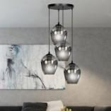 Nowoczesna Lampa wisząca szklana Istar IV premium czarno-grafitowa Emibig nad stół