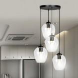 Nowoczesna Lampa wisząca szklana Istar IV premium czarno-przezroczysta Emibig nad stół