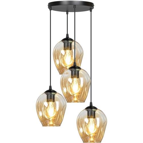 Nowoczesna Lampa wisząca szklana Istar IV premium czarno-miodowa Emibig nad stół