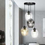 Nowoczesna Lampa wisząca szklana Istar IV premium czarny/multikolor Emibig nad stół