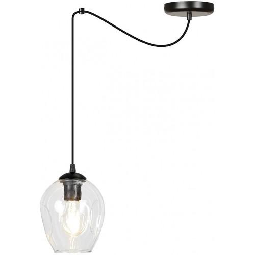 """Nowoczesna Lampa wisząca szklana """"pająk"""" Level 14 czarno-przezroczysta Emibig do kuchni i salonu"""