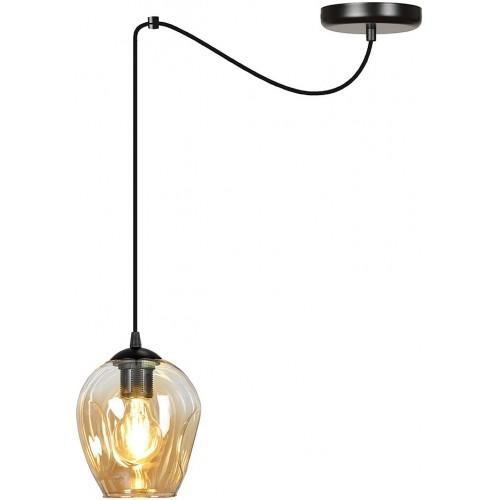 """Nowoczesna Lampa wisząca szklana """"pająk"""" Level 14 czarno-miodowa Emibig do kuchni i salonu"""