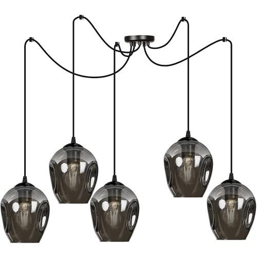 """Nowoczesna Lampa wisząca szklana """"pająk"""" Level V czarno-grafitowa Emibig nad stół"""