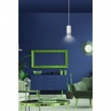 Nowoczesna Lampa wisząca punktowa Fumiko 8 biało-chromowana Emibig do kuchni i salonu