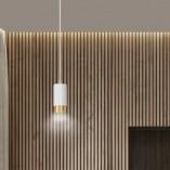 Nowoczesna Lampa wisząca punktowa Fumiko 8 biało-złota Emibig do kuchni i salonu