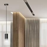 Nowoczesna Lampa wisząca punktowa Fumiko 8 czarno-chromowana Emibig do kuchni i salonu