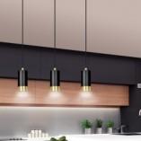Nowoczesna Lampa wisząca potrójna punktowa Fumiko III czarno-złota Emibig nad stół