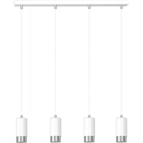 Nowoczesna Lampa wisząca 4 punktowa Fumiko IV biało-chromowana Emibig nad stół