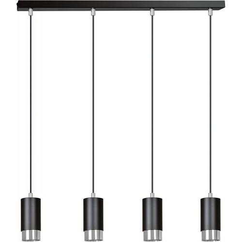 Nowoczesna Lampa wisząca 4 punktowa Fumiko IV czarno-chromowana Emibig nad stół