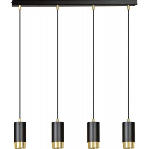 Nowoczesna Lampa wisząca 4 punktowa Fumiko IV czarno-złota Emibig nad stół