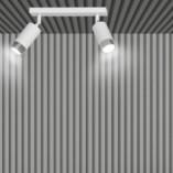 Regulowany Reflektor sufitowy podwójny Hiro II biało-chromowany Emibig do przedpokoju i kuchni