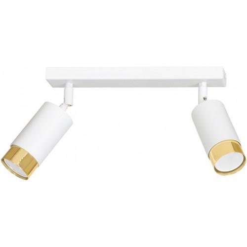 Regulowany Reflektor sufitowy podwójny Hiro II biało-złoty Emibig do przedpokoju i kuchni