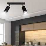 Regulowany Reflektor sufitowy podwójny Hiro II czarno-chromowany Emibig do przedpokoju i kuchni