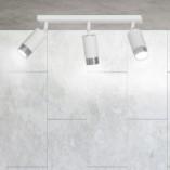 Regulowany Reflektor sufitowy potrójny Hiro III biało-chromowany Emibig do przedpokoju i kuchni