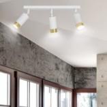 Regulowany Reflektor sufitowy potrójny Hiro III biało-złoty Emibig do przedpokoju i kuchni