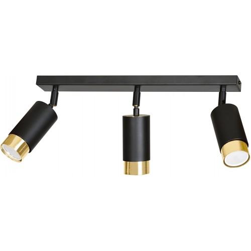 Regulowany Reflektor sufitowy potrójny Hiro III czarno-złoty Emibig do przedpokoju i kuchni