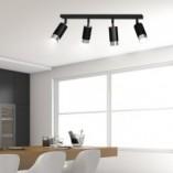 Regulowany Reflektor sufitowy 4 punktowy Hiro IV czarno-chromowany Emibig do przedpokoju i kuchni
