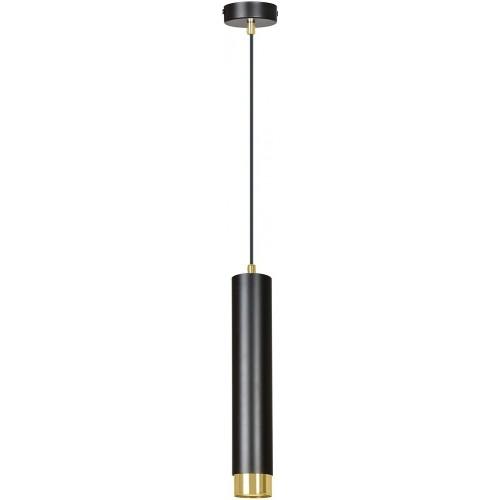 Nowoczesna Lampa wisząca tuba Kibo 8 czarno-złota Emibig do kuchni i salonu