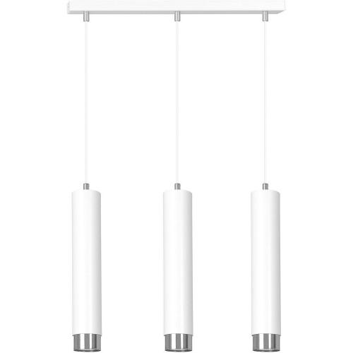 Nowoczesna Lampa potrójna wiszące tuby Kibo III biało-chromowana Emibig nad stół