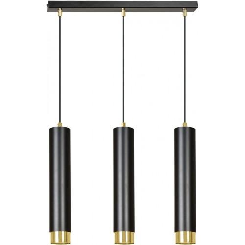 Nowoczesna Lampa potrójna wiszące tuby Kibo III czarno-złota Emibig nad stół