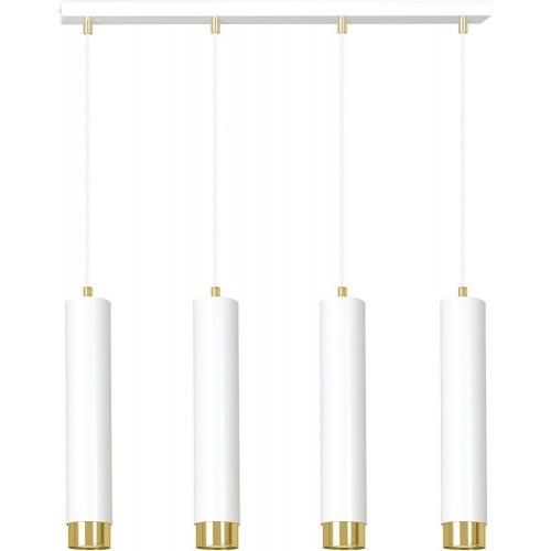 Nowoczesna Lampa wiszące tuby Kibo IV biało-złota Emibig nad stół