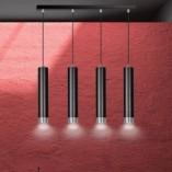 Nowoczesna Lampa wiszące tuby Kibo IV czarno-chromowana Emibig nad stół