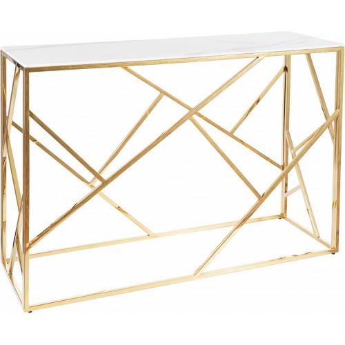 Elegancka Konsola szklana glamour Escada C II 120 biały efekt marmuru/złoty Signal do przedpokoju i salonu