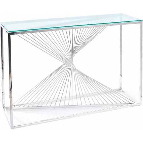 Elegancka Konsola szklana glamour Flame 120 przezroczysty/chrom Signal do przedpokoju i salonu