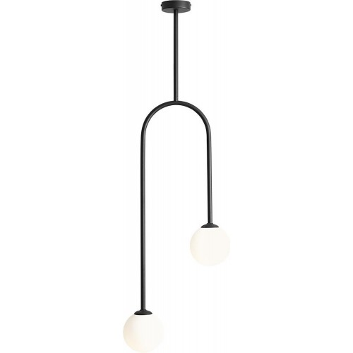 Designerska Lampa sufitowa szklane kule Nave Black II biało-czarna Aldex do salonu i jadalni