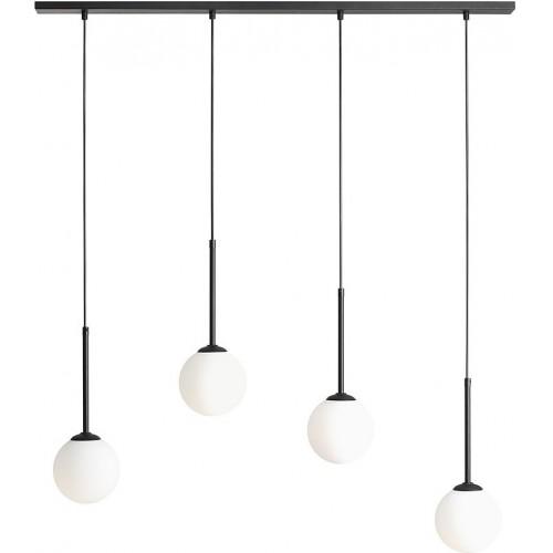 Designerska Lampa wisząca szklane kule Bosso Black IV biało-czarna Aldex nad stół