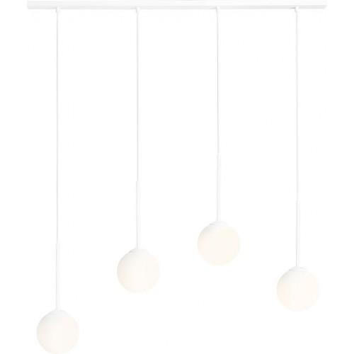 Designerska Lampa wisząca szklane kule Bosso White IV biała Aldex nad stół
