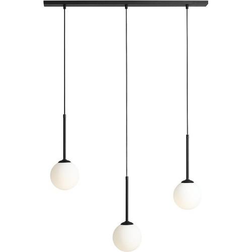 Designerska Lampa wisząca potrójna szklane kule Bosso Black III biało-czarna Aldex nad stół