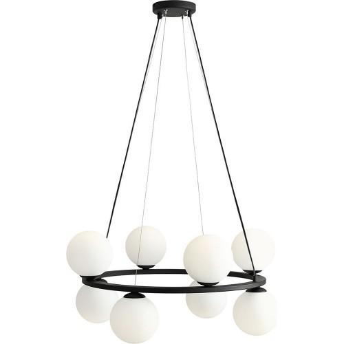 Designerska Lampa wisząca szklane kule Krone Black VIII 68 biało-czarna Aldex nad stół