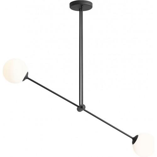 Designerska Lampa sufitowa szklane kule Ohio Black II biało-czarna Aldex do salonu i jadalni