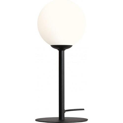 Stylowa Lampa stołowa szklana kula Pinne Black biało-czarna Aldex sypialni