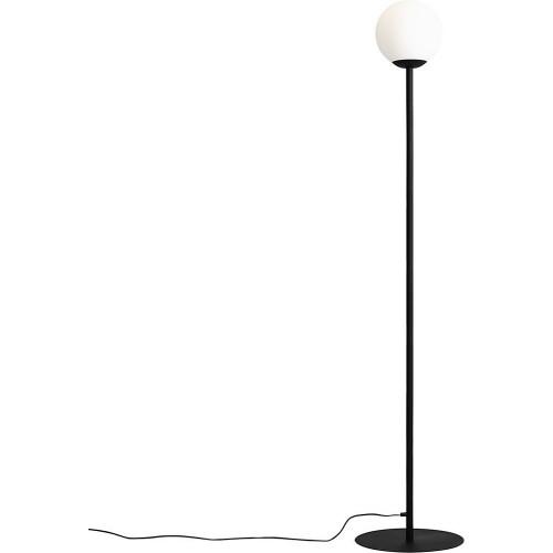 Designerska Lampa podłogowa szklana kula Pinne Black biało-czarna Aldex do salonu