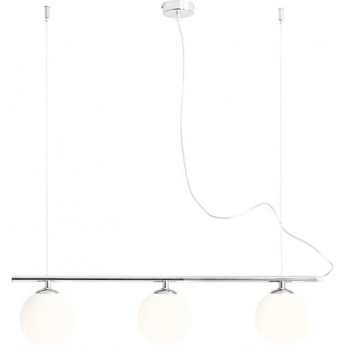 Designerska Lampa wisząca 3 szklane kule Beryl Glass III biało-chromowana Aldex nad stół