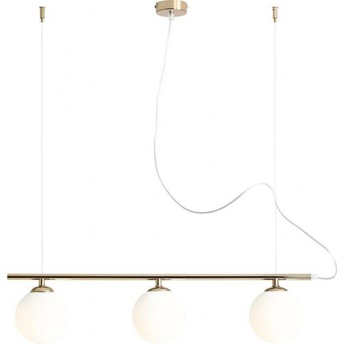 Designerska Lampa wisząca 3 szklane kule Beryl Glass III biało-złota Aldex nad stół