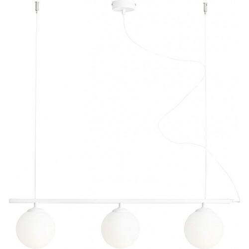 Designerska Lampa wisząca 3 szklane kule Beryl Glass III biała Aldex nad stół