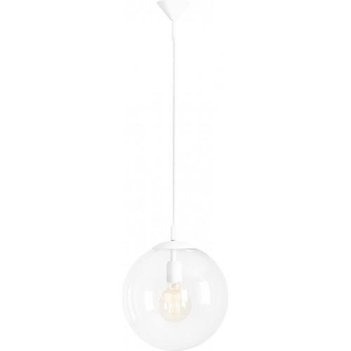 Designerska Lampa wisząca szklana kula Globus White 30 przezroczysta Aldex do salonu