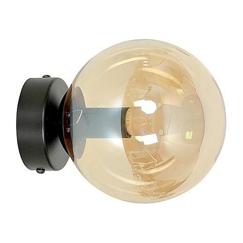 Stylowy Kinkiet szklana kula Rossi 15 czarno-miodowy Emibig do sypialni i salonu
