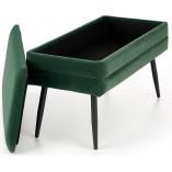 Ławka welurowa ze schowkiem Velva ciemny zielony/czarny Halmar do salonu i przedpokoju