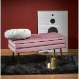 Ławka welurowa glamour ze schowkiem Velva różowy/złoty Halmar do salonu i przedpokoju
