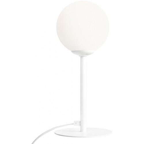 Stylowa Lampa stołowa szklana kula Pinne biała Aldex do sypialni